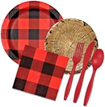 Lumberjack Party Supplies Set - Buffalo Plaid & Timber Cut Paper Plates, Napkins, Forks, Spoons, Knives