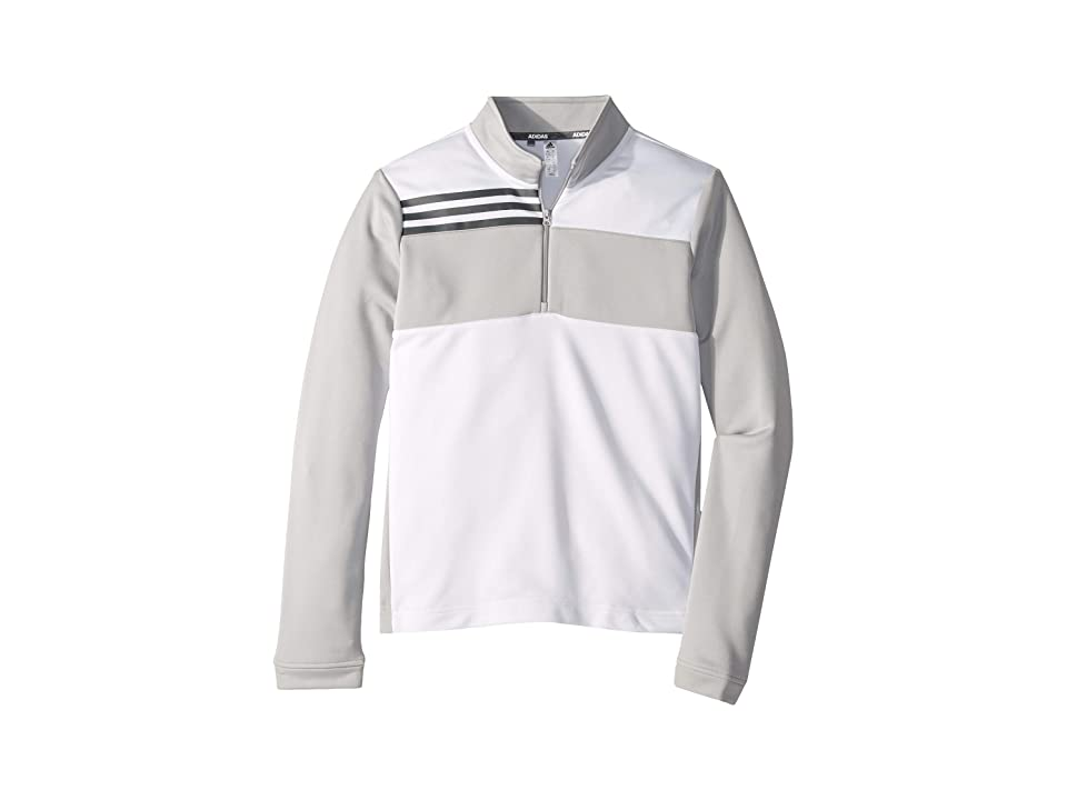 Image of adidas Golf Kids Color Blocked Half Zip Layer (Little Kids/Big Kids) (White) Boy's Long Sleeve Pullover