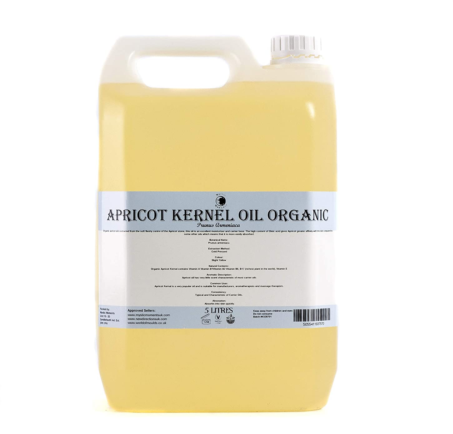 まだ生物学小屋Mystic Moments | Apricot Kernel Organic Carrier Oil - 5 Litres - 100% Pure