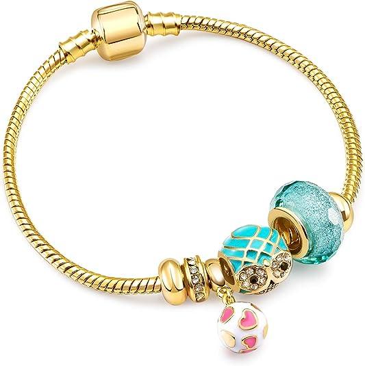 RIMAYZI 14K Gold Plated Charm Bracelet for Women, Women's Charm Symbol Bracelets, Gifts for Mother's Day, Mom, Her, Wife, Girls