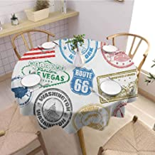 HouseLookHome United States New Years Tablecloth Grunge Stamps of America Las Vegas New York San Francisco Hawaii Illustration Fabric Tablecloth 43 Inch Round Multicolor
