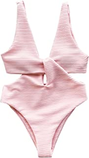 CUPSHE Women's Solid Pink Hollow Out One Piece Swimsuit Deep V Neck Monokini