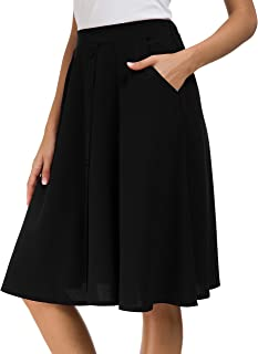Afibi Womens High Waisted A Line Pleated Midi Skirt Button Front Skirts with Pocket