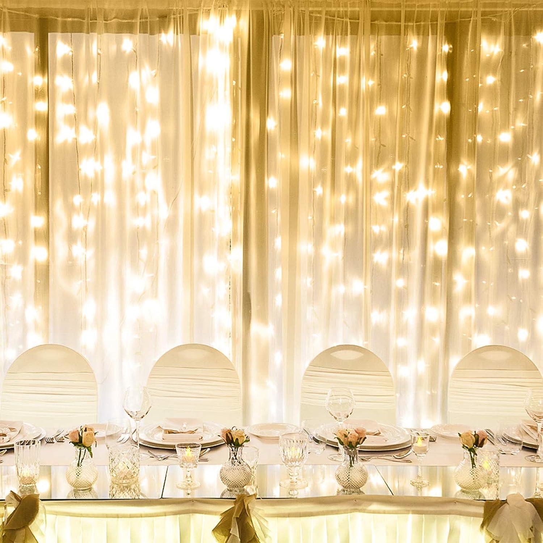 LE 3m 3m 3m x 6m Lichtervorhang, LED Lichterkette 306 LEDs mit 8 Lichtmodi, Strombetrieben mit Stecker, ideale Weihnachtsdeko für Innen, Vorhang, Deko, Haus, Fenster, Bett usw. Warmweiß B01DNDMRVU d046e7
