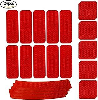 WENTS Adhesivos Reflectantes 24PCS Pegatinas Reflectantes Pegatinas Reflectantes Kit Adhesivo Universal para Bicicleta Cochecito Casco Moto Motocicleta Visibilidad de Noche (Rojo)