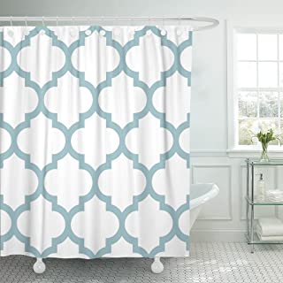 Accrocn Waterproof Shower Curtain Curtains Fabric White Gray Green Moroccan Quatrefoil Design Classic Chevron Stripes Extra Long 72x78 Inches Decorative Bathroom Odorless Eco Friendly