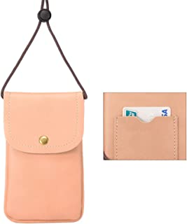 Cell Phone Neck Pouch, Techcircle PU Leather Carrying Bag with Credit Card Holder Adjustable Strap, Small Travel Purse for iPhone Xr Xs Max 8 7 6 Plus, Galaxy S10 S7 Edge J7, Moto G6 (Pink)