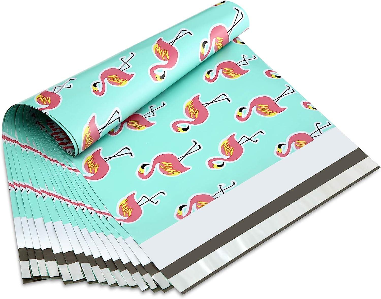 UCGOU 10x13 Inch Flamingo Designer Poly Mailers Shipping Envelopes Boutique Custom Bags 2.35MIL Multipurpose Envelopes Pack of 100