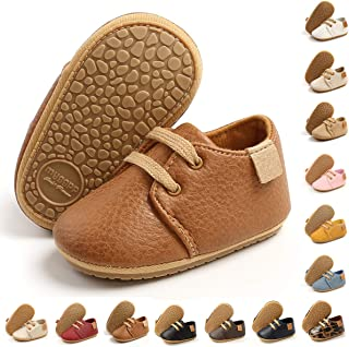 BENHERO Baby Boys Girls Moccasins Oxford Sneakers PU Leather Rubber Sole Infant Loafers Anti-Slip Toddler First Walkers Cr...