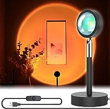 Zonsondergang Projectie Lamp Nachtlampje, 180 ° rotatie Romantische visuele vloerstandaard Led-zonsondergang licht, Sfeer ...