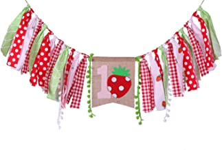 HighChair Banner for 1st Birthday - First Birthday Decorations for Photo Booth Props, Birthday Souvenir and Gifts for Kids, Best Party Supplies (Strawberry Birthday Banner)