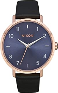 NIXON Arrow Leather A1103 - Rose Gold/Storm - 62M Water Resistant Women's Analog Classic Watch (38mm Watch Face 17.5mm Stainless Steel Band)