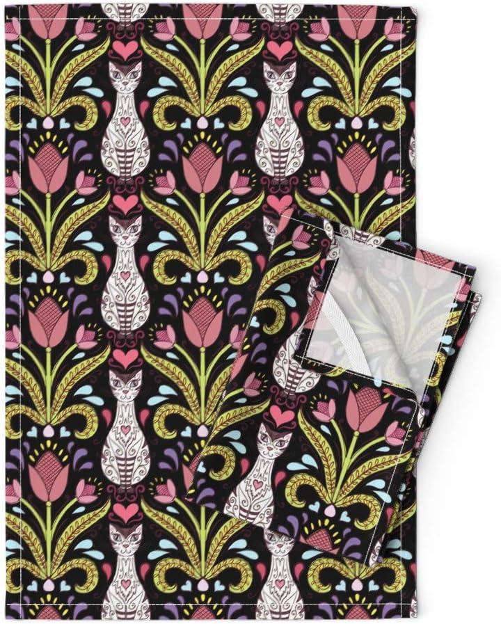 Roostery Tea Towels Damask Folk Art Cats Retro 新作多数 Tulips P Siamese 2020秋冬新作