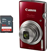 Canon PowerShot ELPH 180 Digital Camera + 64 GB Memory Card (Red)