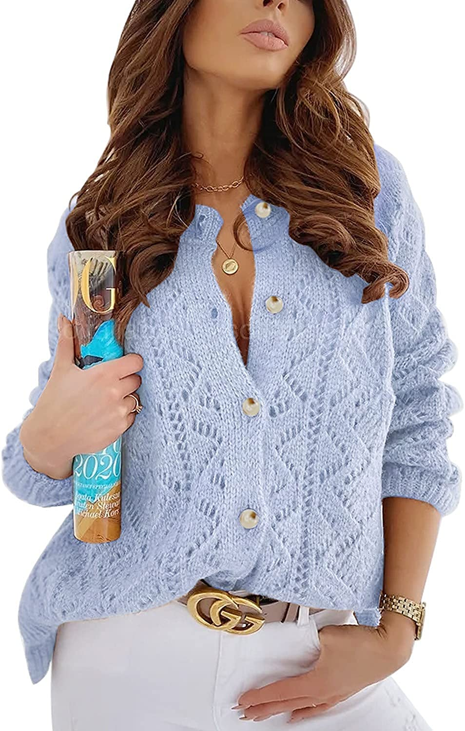 FANCYINN Womens Open Front Chunky Cable Knit Long Sleeve Cardigan Casual Sweater Button Down Autumn Outwear