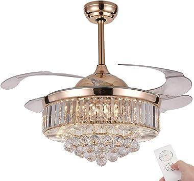 NUTCRUST - Ventilador de techo retráctil de cristal, 3 luces LED de cambio silencioso con control remoto, 106 cm, 36 W, moder