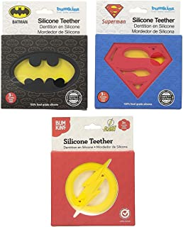 Bumkins DC Comics Silicone Teether 3-Pack Batman/Superman/Flash One Size