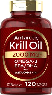 Antarctic Krill Oil 2000 mg 120 Softgels | Omega-3 EPA, DHA, with Astaxanthin Supplement Sourced from Red Krill | Maximum ...