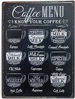 NaCraftTH Large Tin Sign [ Coffee MENU ] Metal Iron Retro Vintage Art Cafe Bar Wall Decorative Sign Poster, 12