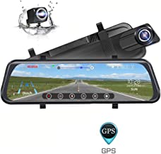 Backup Camera, Poaeaon 10inch Mirror Dash Cam Touch Screen, 170°1296P Front and 150° 1080P Rear View Camera Dual Lens with G-Sensor, 24 Hour Parking, GPS