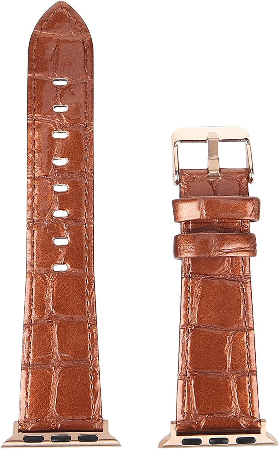 CYHPQY Leather Watch Band Alligator Grain Calfskin Replacement Strap Stainless Steel Buckle Bracelet for Men Women - Compatible with All Apple Watches - 38mm, 40mm, 42mm, 44mm