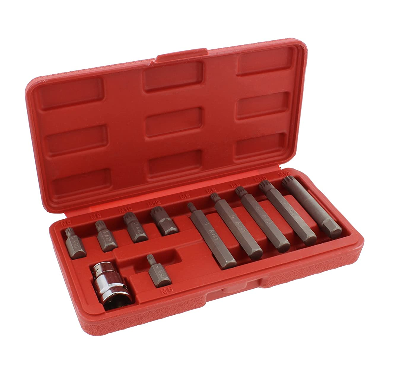 ABN XZN Triple Square Spline 11-Piece Metric Drill Bit Set – M5 – M12 Bits & 10mm Hex Bit Adapter Shank CRV Steel Metal