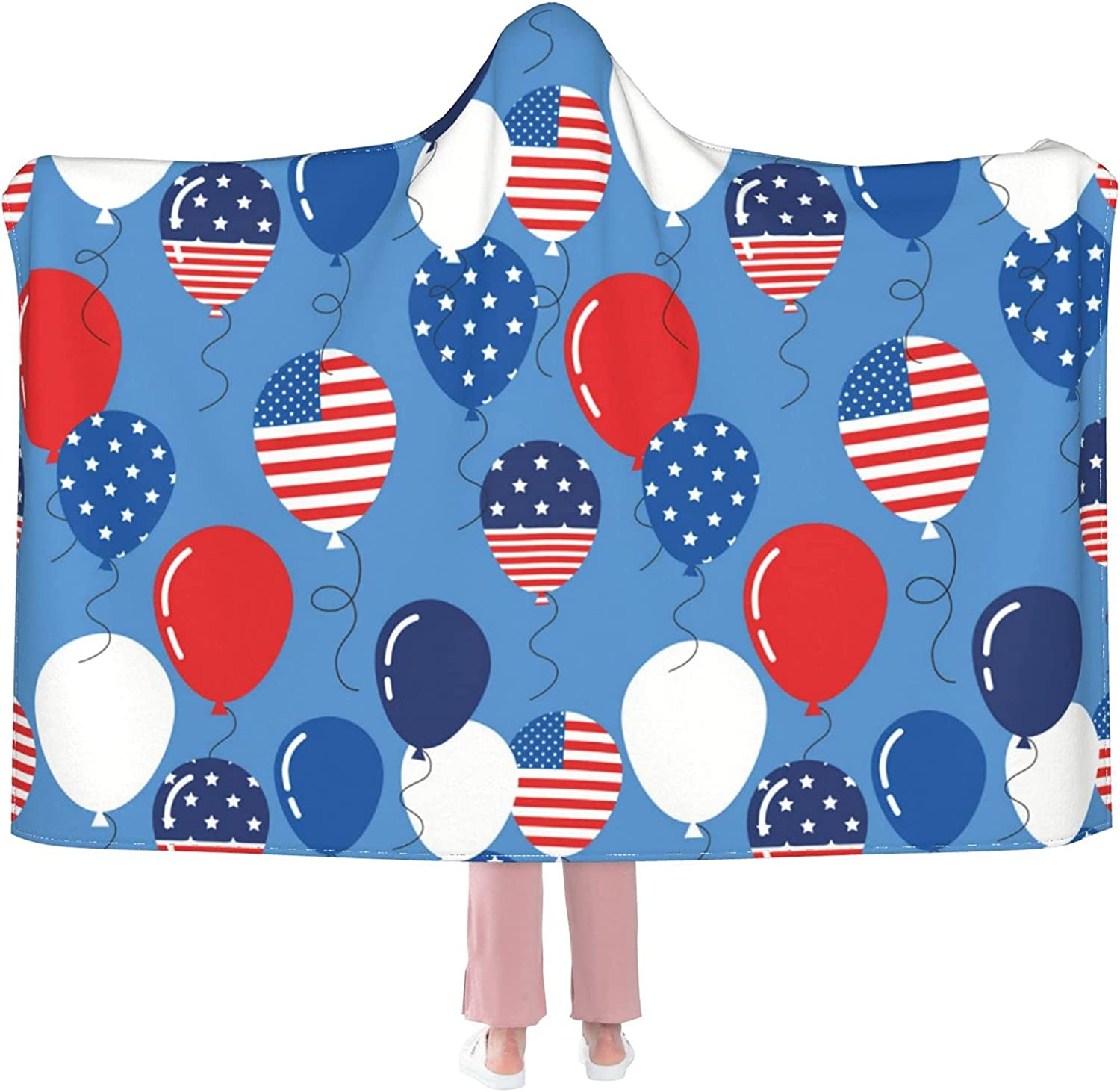 Hooded BlanketAmerican Flag Ballons Blanket Throw Same day shipping Fuzzy All items free shipping