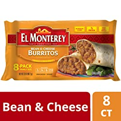 El Monterey Bean and Cheese Burritos – Family Pack of 8 Frozen Burritos, Made with Flavorful Beans,