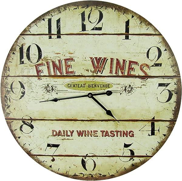 Large 23 Wood Wall Clock Fine Wines Daily Tastings