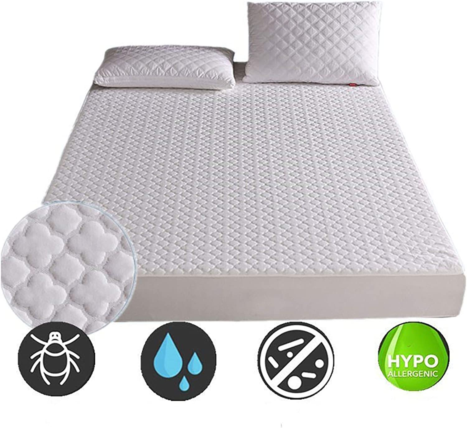 Waterproof Mattress Cover Thick Embossed Mattress Cover (72-200Cm) Thick Waterproof Mattress Mattress Cover,100X200cm