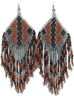 Southwestern Geometric Pattern Glass Seed Beaded Earrings Handmade