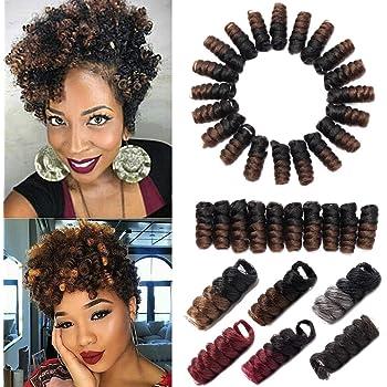 Kenzie Toni Curl Crochet Hair 10 Inch Toni Curls Crochet Braids Carrie Saniya Curl Short Curly Crochet Hair For Black Women Ombre Synthetic Twist Braiding Hair Extension Black to Light Brown 5 Pack
