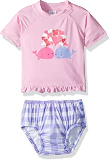 KIKO & MAX Baby Girls Rashguard and Diaper Cover Swim Set
