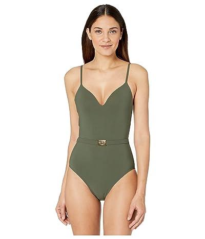 Tory Burch Swimwear T-Belt One-Piece (Green Olive) Women
