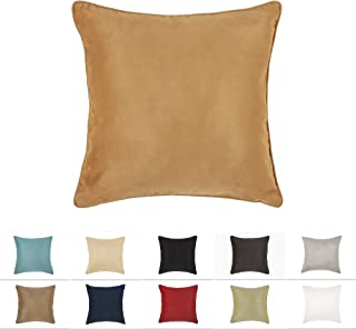 DreamHome 26 X 26 Inches Tan Color Faux Suede Decorative Euro Pillow Cover, Throw Pillow Case with Hidden Zipper, Super Soft High Quality Faux Suede On Both Sides