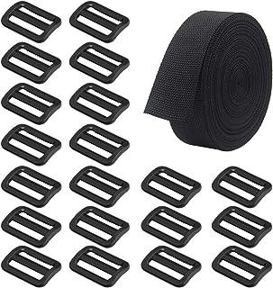 SourceTon Heavyweight Polypropylene Webbing 1 Inch by10 Yard & 20 Pieces Plastic Triglide Slides, Heavy Duty Poly Strappi...
