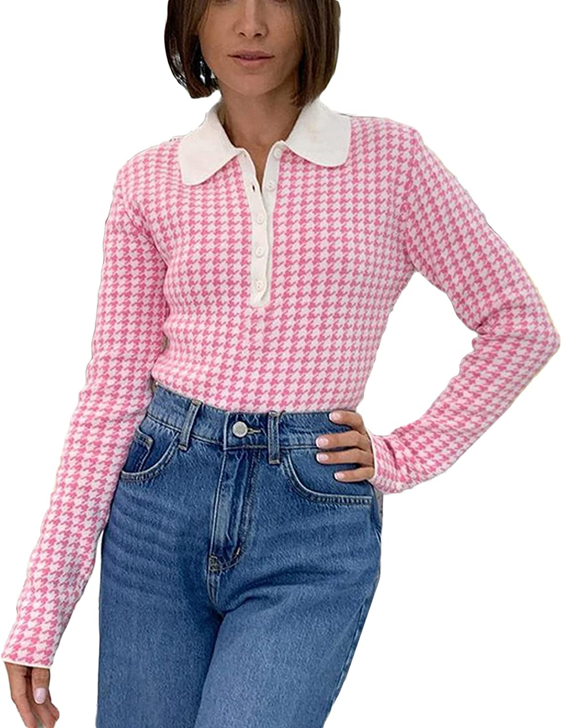 Women Y2K Houndstooth V Neck Lapel Button Down Long Sleeve Bodysuit Tops Causal Blouse