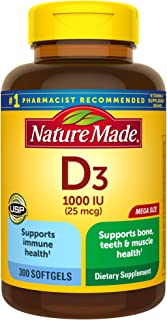 Nature Made Vitamin D3 1000 IU (25 mcg) Softgels, 300 Count for Bone Health (Packaging May Vary)