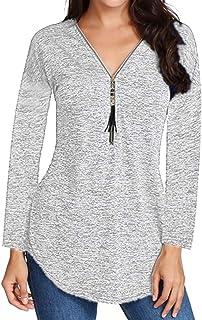 Women's Asymmetric Hem Deep V Neck Plaid Blouse Tops Long Sleeve Zip Neck Comfy Henleys Tee Shirt