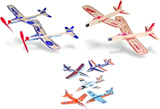 Balsa Wood and Foam Toy Airplane Set - 4 Balsa Wood and 6 Foam Model Plane Kits in 1 Set - Guillows Jetfire Plane Twin Set, Sky Streak Propeller Plane Twin Set, and 6 Foam Fighter Gliders
