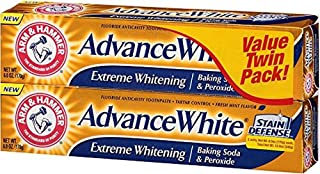 ARM & HAMMER Advance White Extreme Whitening Baking Soda and Peroxide Toothpaste, Fresh Mint, Twin Pack 6 oz (Pack of 2)