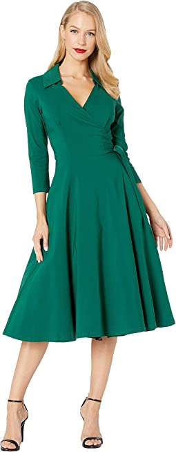 1950s Style Stretch Sleeved Anna Wrap Dress