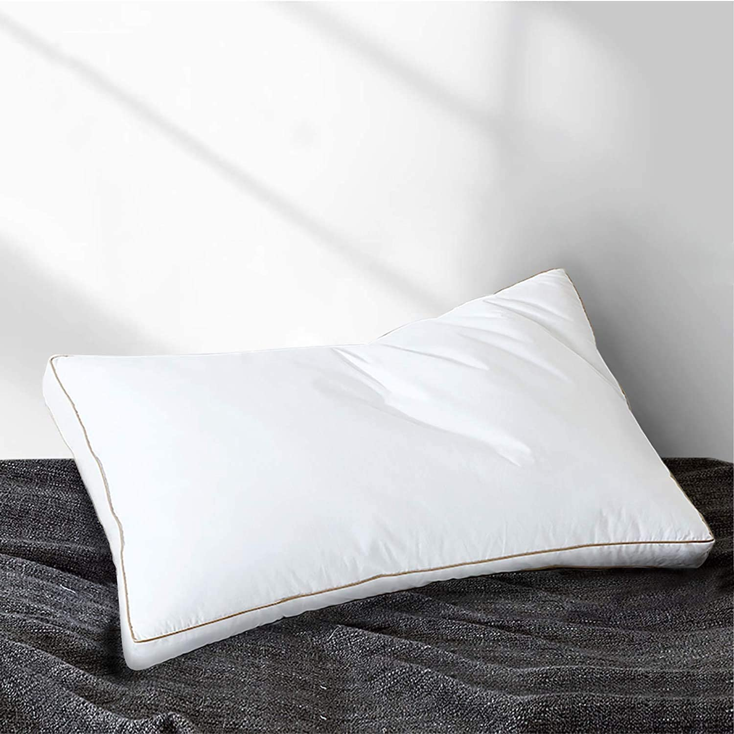 Yalamila Natural Goose Down Feather Bed Pillows for Sleeping (1-Pack)- 100% Cotton Fabric Cover Skin-Friendly - Luxury Hotel Soft Gusseted Pillows - Side Back Sleepers- Queen (20x30 inch)