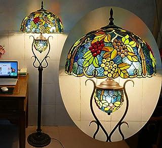 Vintage Tiffany Salon Lampadaire Avec interrupteur Ø46cm Abat-jour en Verre Teinté à la Main Rétro Chambre Lampe De Sol ra...