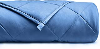 YnM Weighted Blanket for Couple, 30 lbs 80''x87'' King Size   100% Cotton Material with Glass Beads A Monaco Blue Premium Cotton Duvet Cover
