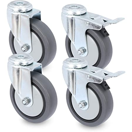 4x Lenkrollen mit Feststeller Anschraubplatte Tranportrolle Rückenloch 50 mm