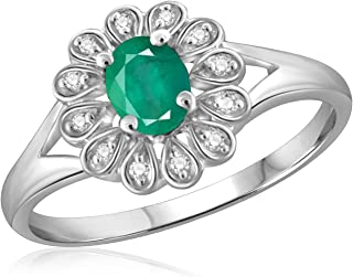 Jewelexcess 0.25 CTW Genuine Emerald Gemstone & 1/20 CTW White Diamond Ring in Sterling Silver
