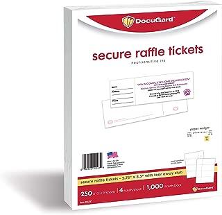DocuGard Secure Raffle Tickets with Heat Sensitive Ink, Tear-Away Stubs, 8.5 x 11, 67 lb Card Stock, 4 Tickets Per Sheet, 250 Sheets, 1000 Tickets, (04297) (2.75 x 8.5)