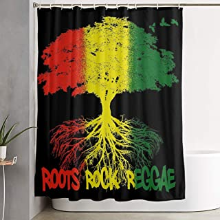 NiYoung Shower Curtains with 12 Hooks - Rastafarian Reggae Rasta Style Tree, Waterproof Extra Long Window Curtain for Stalls and Bathtubs Spa, Hotel