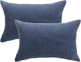 PICCOCASA Pack of 2 Decorative Pillowcase Covers with Zipper Fall Super Soft Corduroy Striped Throw Pillow Case Cushion Cover Sets for Sofa Couch Bed, Teal Blue 12 x 18